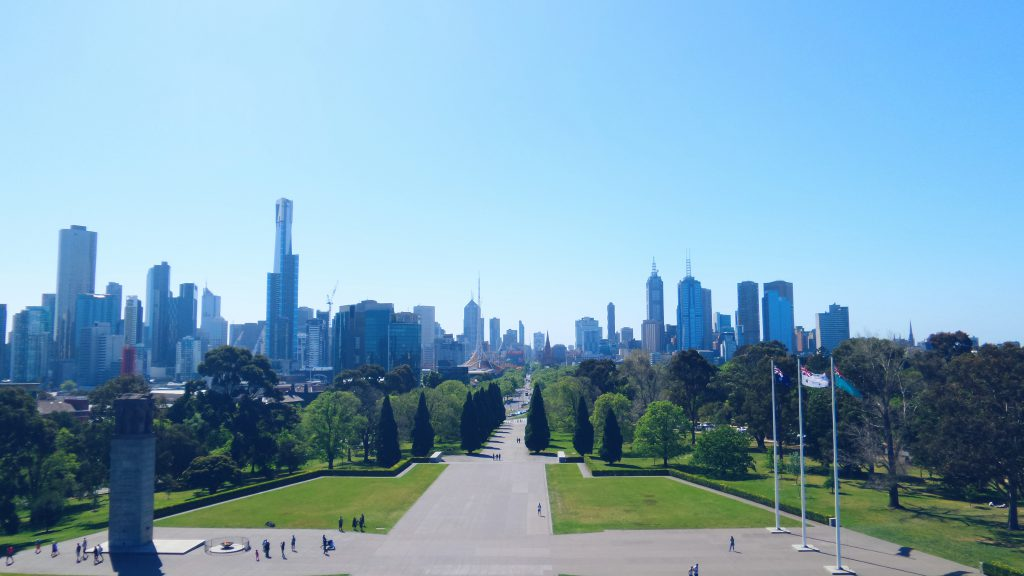 view over the city of Melbourne from Shrine of Remembrance