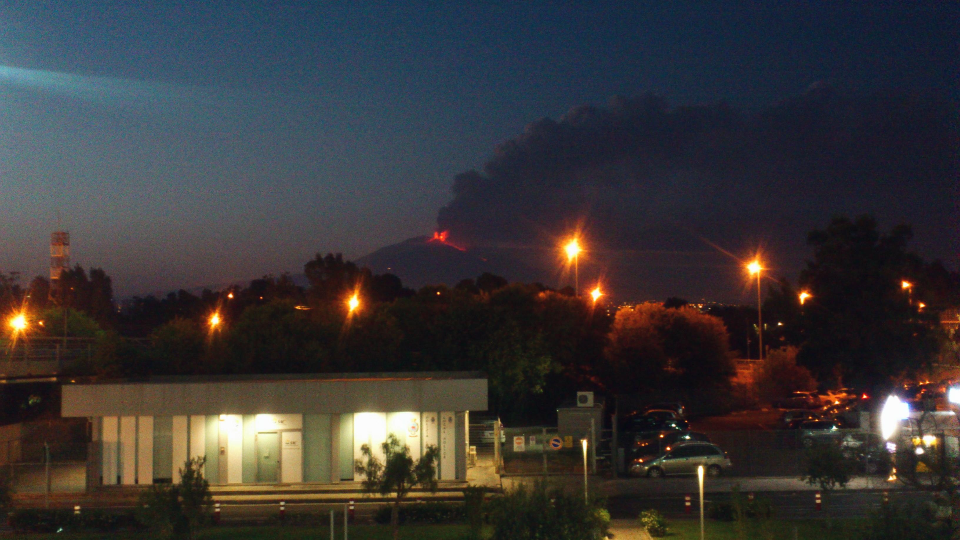 Erupting vulcano Etna Sicily