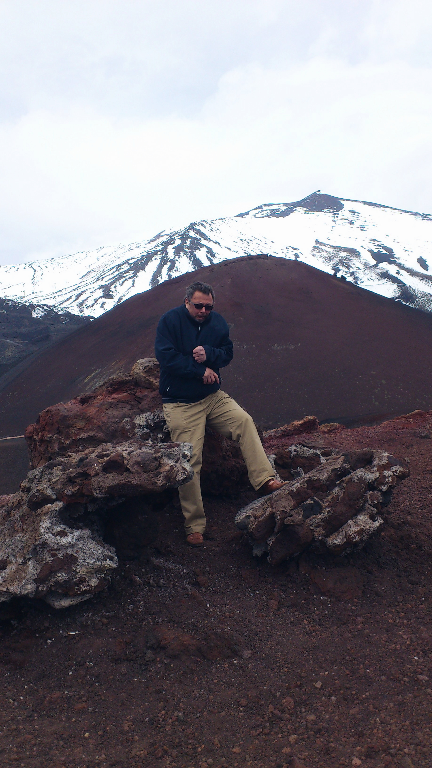 freeing cold on top of Etna vulcano Sicily