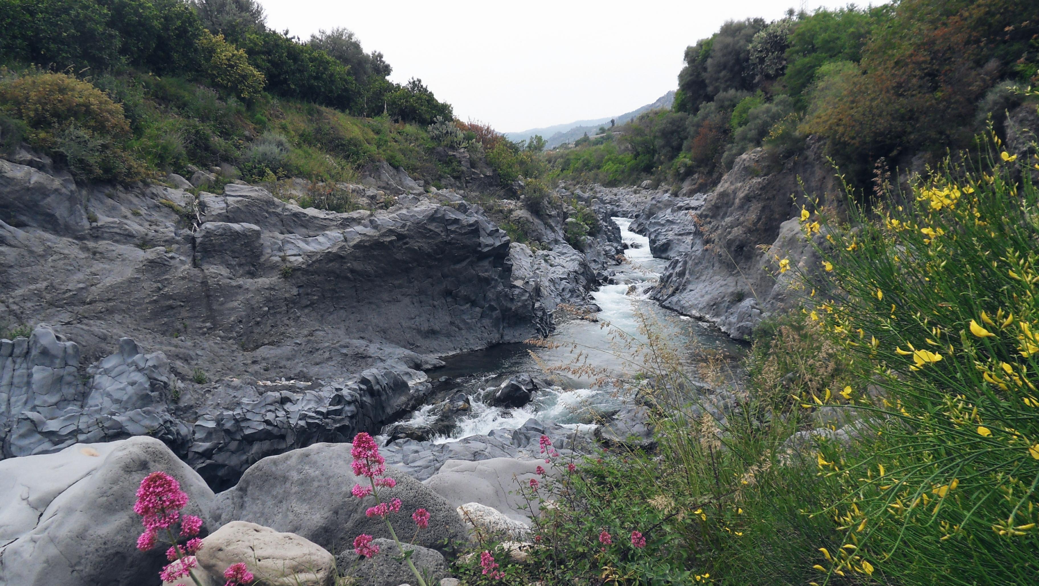 overlooking Alcantara river Sicily Italia