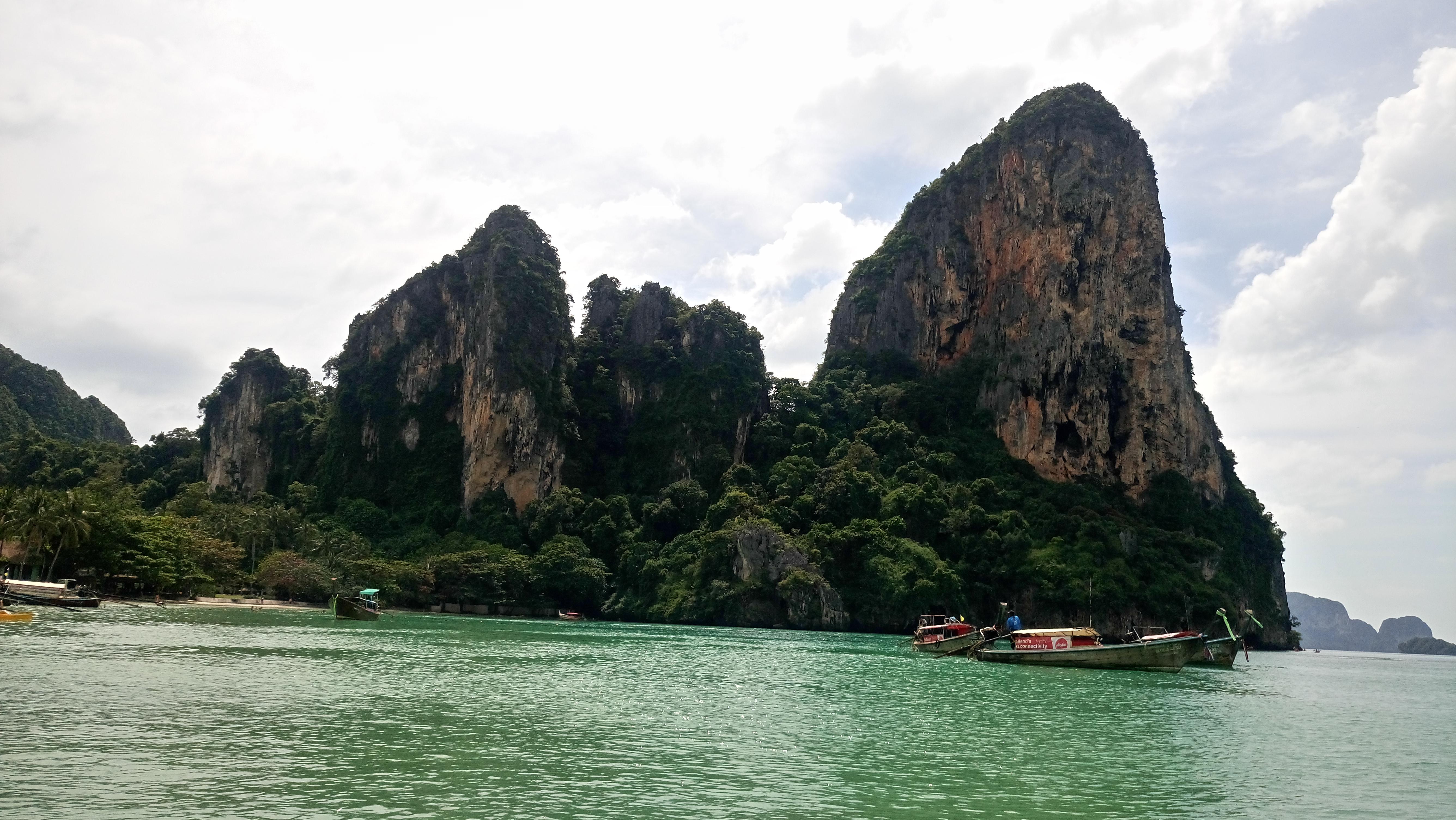 Limestone cliffs Railay Beach Thailand