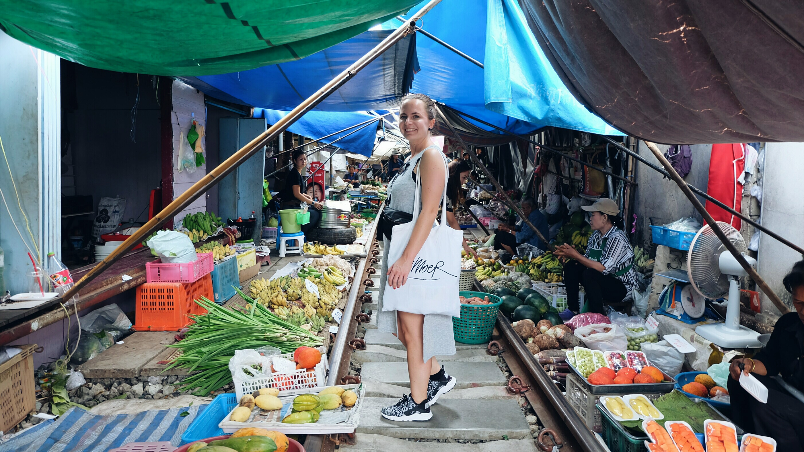 self portret Maeklong railway market Thailand