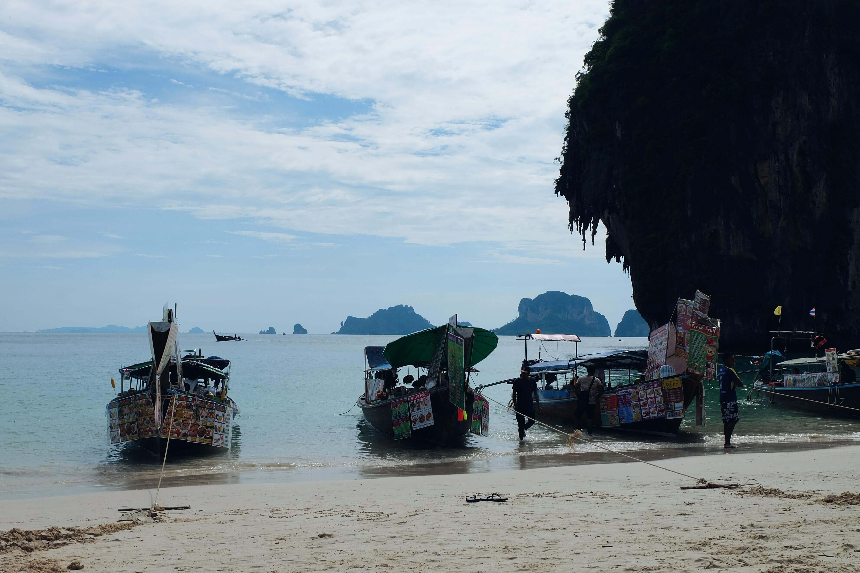Longtail boats Phra Nang Beach Railay Thailand