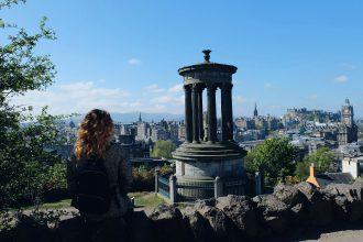 Overlooking the city of Edinburgh Calton Hill