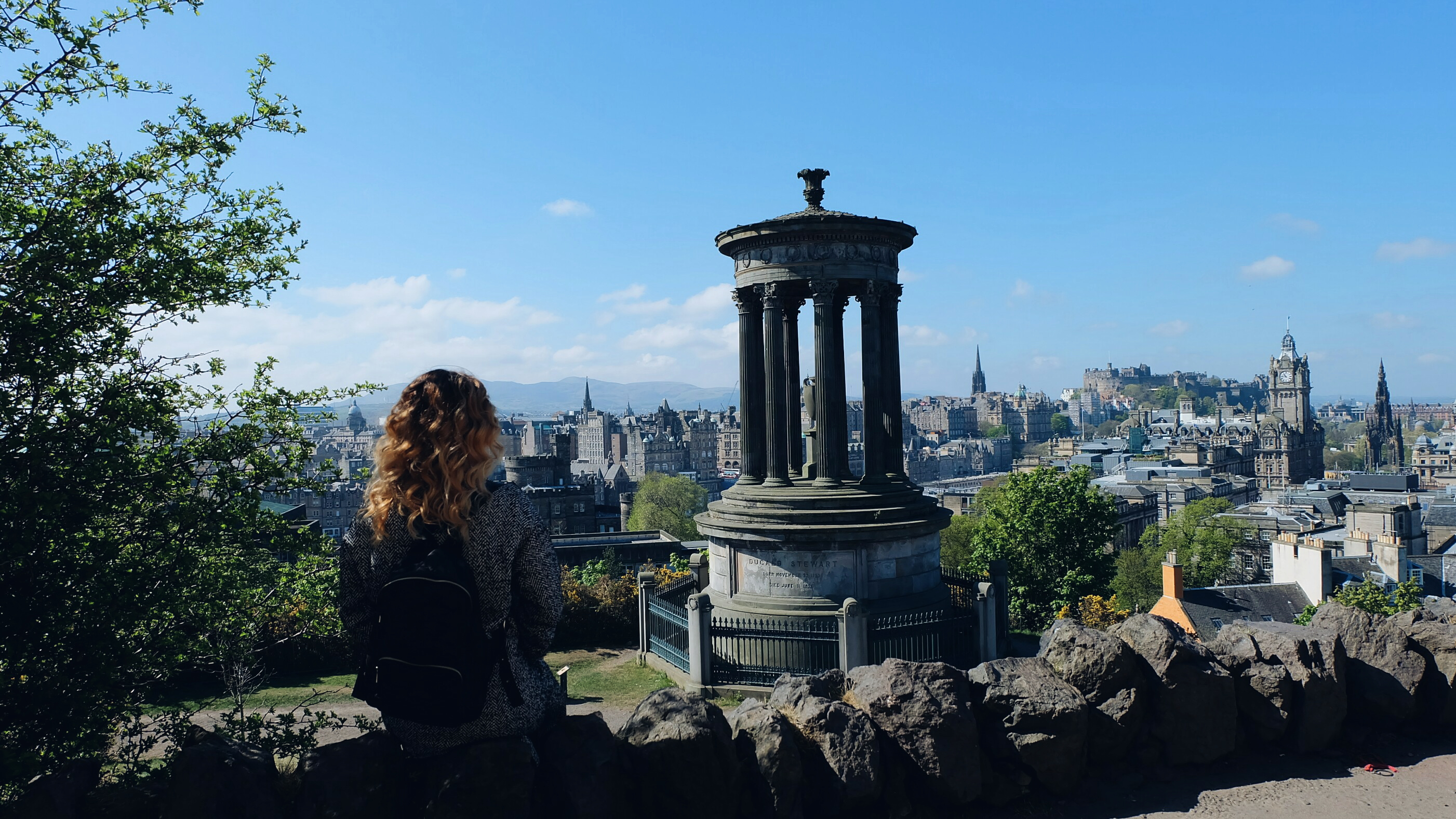 Overlooking the city of Edinburgh Calton Hill