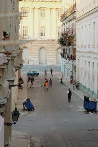 Cuban kids playing soccer streets Havana Cuba