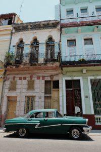 green oldtimer streets Havana Cuba