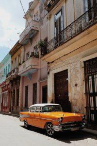 orange oldtimer streets Havana Cuba
