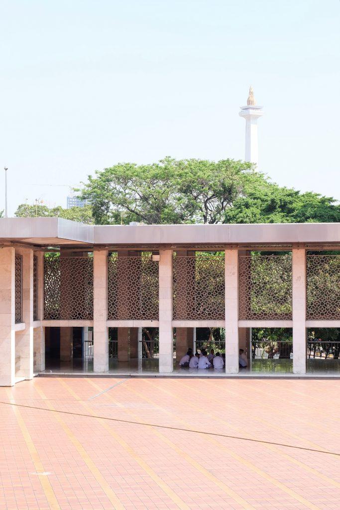 Boys meeting Istiqlal mosque Monas Jakarta Java