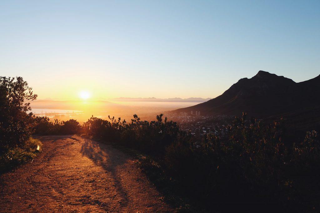 sunrise Lion's Head Cape Town cityview